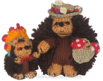 Mom Hedgehog with her Son PDF Email Knit Pattern