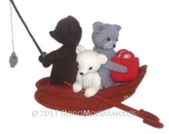 Three Bears going of fishing PDF Email Knit Pattern