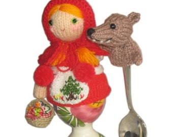 Little Red Riding Hood with Wolf Egg Cosy PDF Email Crochet PATTERN