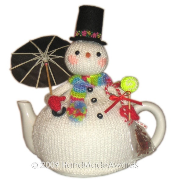 Lovely Christmas SNOWMAN with UMBRELLA Tea Cosy Pdf email Knit PATTERN