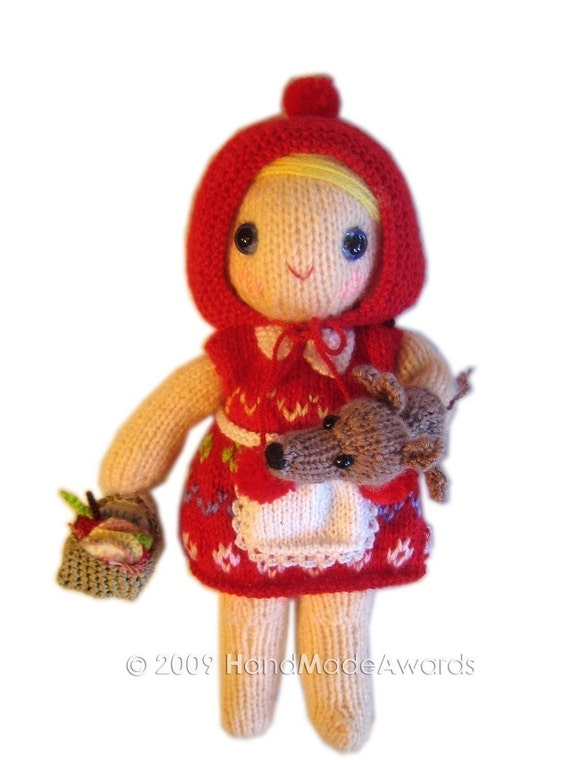 Knitting Pattern For Little Red Riding Hood Doll : Adorable Little Red Riding Hood girly Doll with Wolf ...