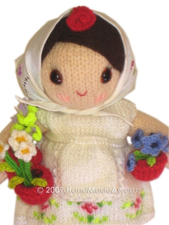 Adorable GARDENER Girly Doll with Watering Can and Flowerpots  KNITT PATTERN pdf Email