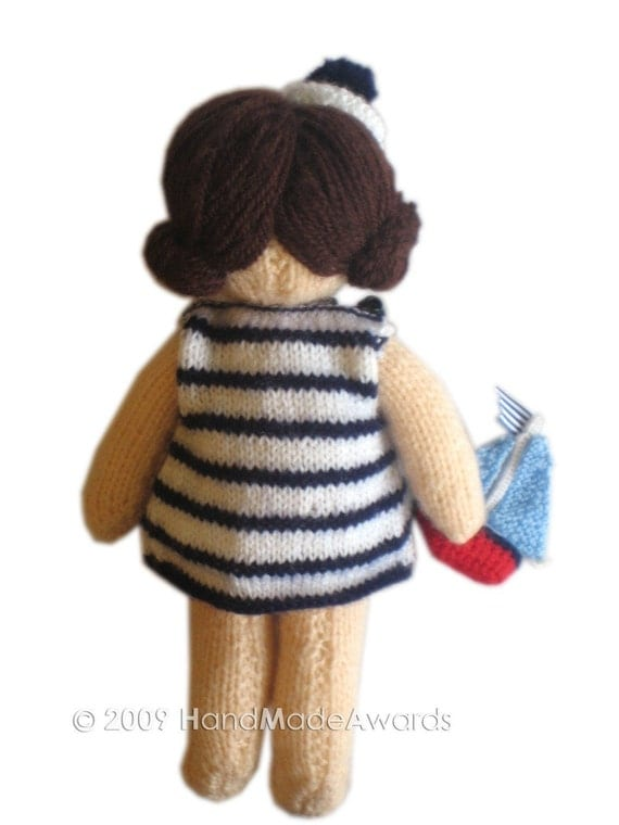 Gorgeous SAILOR girly DOLL with Toy Boat pocket friend Knit PATTERN pdf Email...