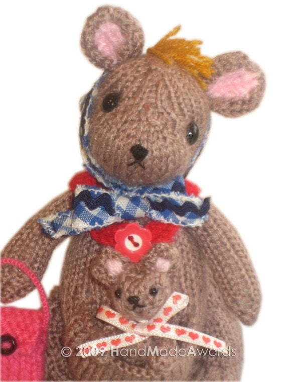 Lovely Mom Matilda Kangaroo with her Baby PDF Email KNIT PATTERN