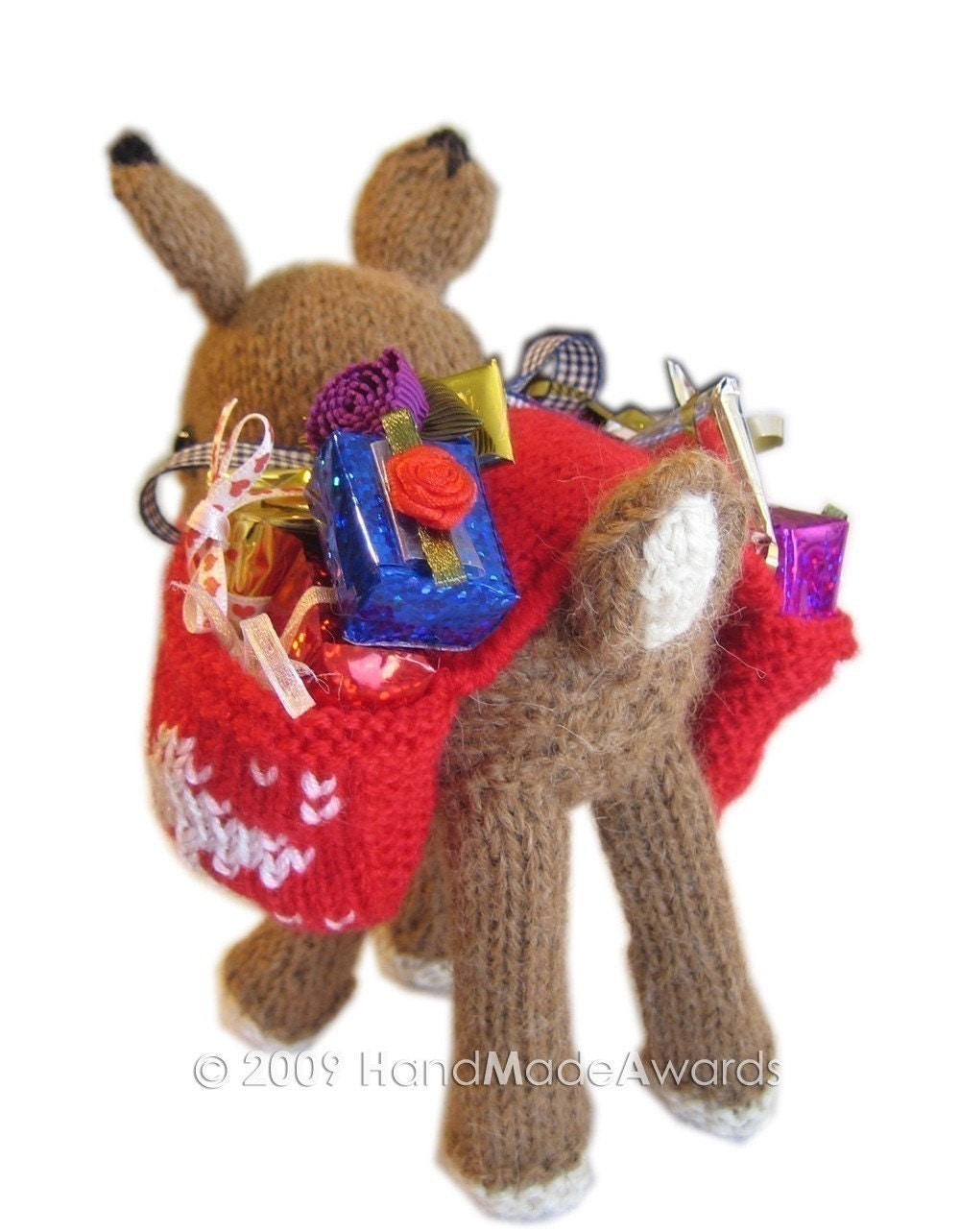 Rudolph Knitting Pattern : Christmas RUDOLPH REINDEER with Saddlebag full of Presents pdf email knit PAT...