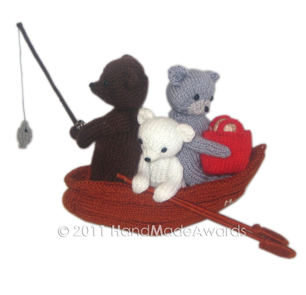 Knitting Pattern For Toy Boat : Three Bears going of fishing PDF Email Knit Pattern from HandMadeAwards on Et...