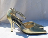 Vintage Gold Pointed Metal High Heels, Size 6-7