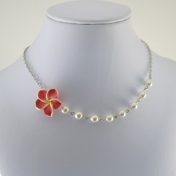 Child Size Necklace Pearl Pink Polymer Clay Flower White Chain Beaded