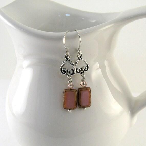 Pink Window Earrings Czech Glass Silver Swarovski Wire Beaded