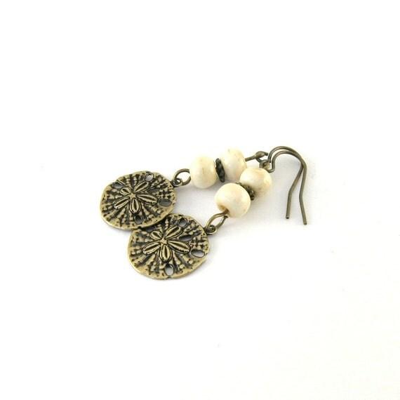 Brass Sand Dollar Earrings Cream Bone Antique Brass Beaded Wire Dangle