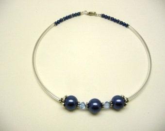 Blue tube necklace