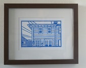 Original Linocut Print - East coast home in blue - Free Shipping