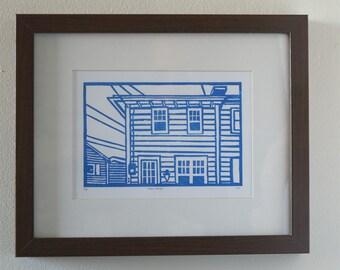 Original Linocut Print - East coast home in blue - Free Shipping