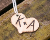 Personalized Woodland Rustic Western Heart Place Card Holder Wine Charm