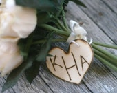Rustic Wedding Bouquet Charm Personalized Wood Heart (item E10542)