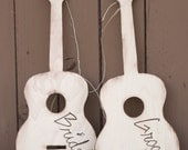 HUGE Wood Guitar Bride and Groom Chair Signs Photo Props