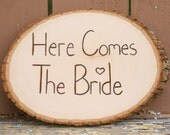 Rustic Woodland Fall Winter Wedding Here Comes The Bride Flower Girl Ring Bearer Sign Photo Prop Tree Slice