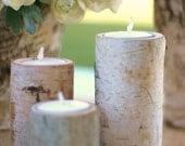 24 Centerpiece Birch Log Tea Light Candle Holders Rustic Wedding Decor (item C10037)