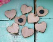 100 Wood Heart Magnets Wedding Favors (Item Number 140220)