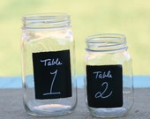 SET OF 12 Upcycled Glass Jars With Chalkboard Fronts Candle Holder Vases Table Numbers