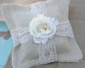 Ring Bearer Pillow With Burlap Lace And Vintage Rose
