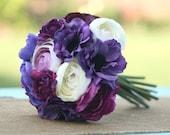 Bride Bouquet Cream Ivory Deep Purple Violet Lavender Vintage Antique Roses & Ranunculus Rustic Chic Weddings By Morgann Hill