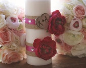 Custom Personalized Rustic Chic Wedding Unity Candle With Engraved Wood Heart Vintage Shabby Inspired Paper Roses Burlap Rhinestones