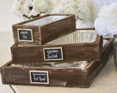 Rustic Serving Trays With Chalkboard Signs Rustic Wedding Decor (item P10493)