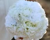 Silk Bride Bouquet Ranunculus Roses Rustic Chic Wedding