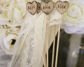 Personalized Wedding Wands Rustic Chic Decor SET of 25 (item E10309)