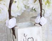 Shabby Chic Flower Girl Basket Rustic Wedding Decor
