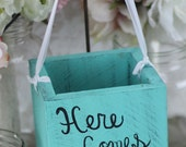 Shabby Chic Flower Girl Basket Here Comes The Bride Sign