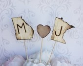 Personalized Cake Topper Engraved Wood States Rustic Wedding (item E10517)