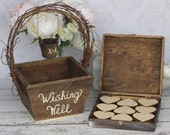 Wedding Guest Book Alternative Rustic Wedding Personalized Wishing Well Basket Chic Decor