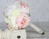 Silk Bride Bouquet Peony Peonies Lace Rhinestone Charm (item F10390)