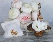 Rustic Ring Bearer Pillow Flower Girl Basket Lace Wedding Decor (item B10389)