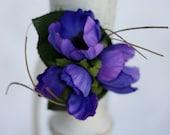 Rustic Purple Silk Flower Corsage Shabby Chic Wedding (item F10560)