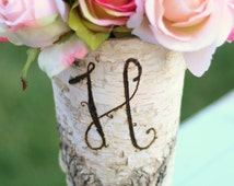 Personalized Monogrammed Tall Birch Wood Vase Rustic Decor (Item Number 140176)
