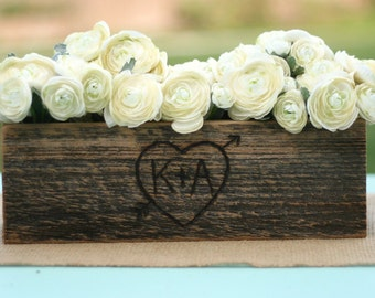Barn Wood Rustic Vase Centerpiece Personalized (item E10165)
