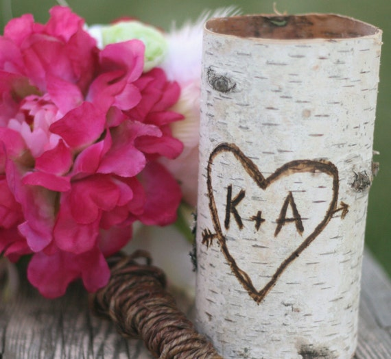 Wedding Bouquet Personalized Birch Wood Vase By Braggingbags