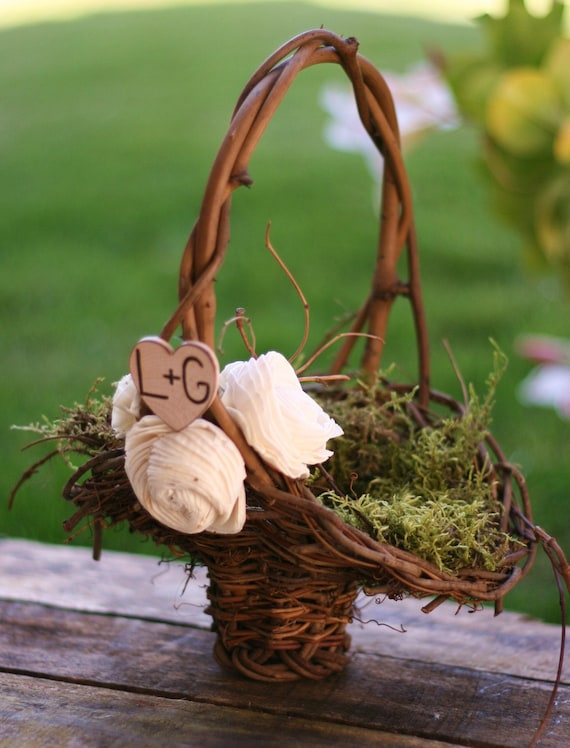 Personalized Flower Girl Basket Woodland Rustic Outdoor Fall Winter Roses CHIC