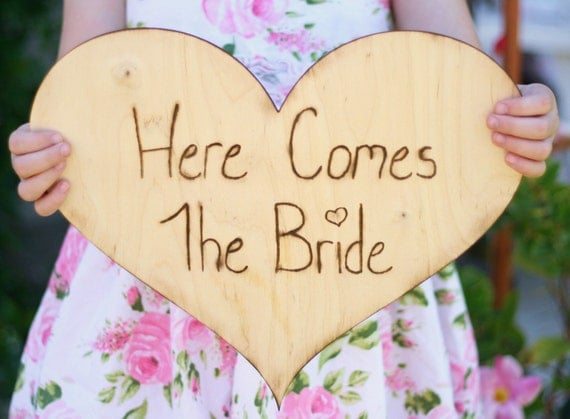 HUGE Here Comes The Bride Sign For Flower Girl or Ring Bearer (item E10508)