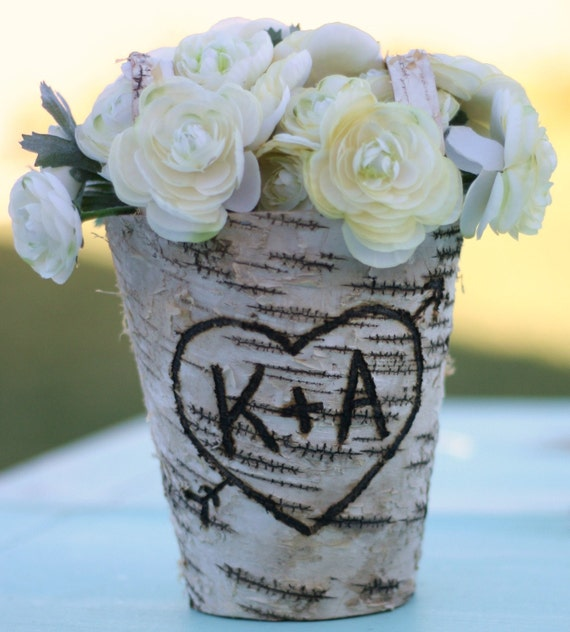 Monogrammed Vase Centerpiece : Personalized engraved birch bark flower girl by braggingbags