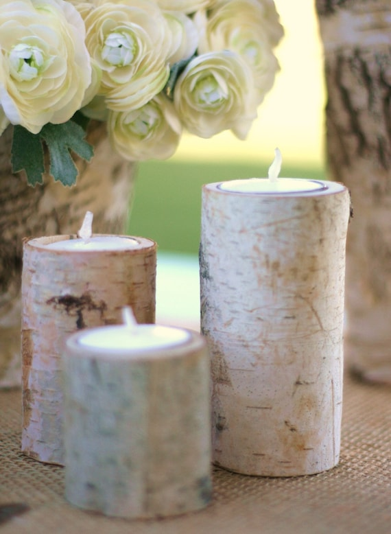 Items similar to centerpiece birch log tea light candle