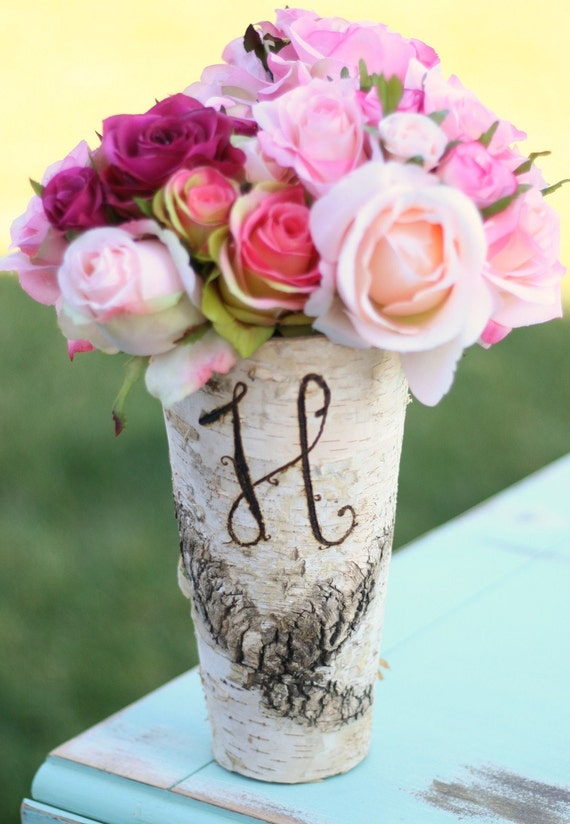 Items similar to birch bark wood vases rustic wedding for Wood vases for centerpieces