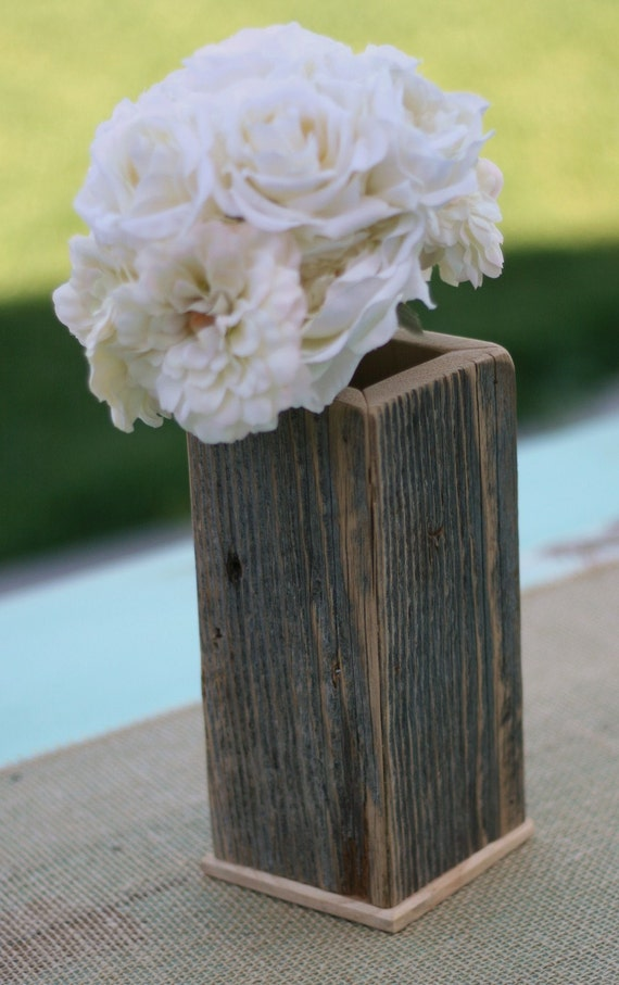 Barn wood rustic vase planter pot centerpiece by braggingbags