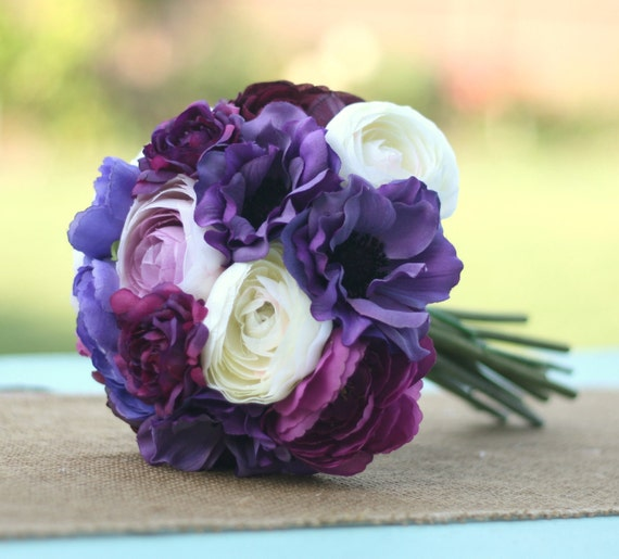 Items similar to bride bouquet cream ivory deep purple