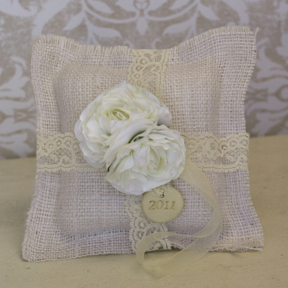 Shabby Chic Pillows On Etsy : Items similar to Personalized Ring Bearer Pillow Rustic Shabby Chic Vintage Charm Custom on Etsy