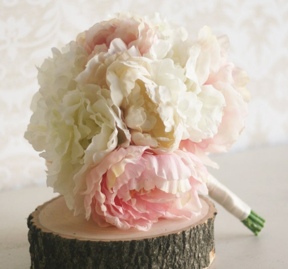 Silk Bride Bouquet Peony Flowers Peonies Shabby Chic Wedding Arrangement (Item Number MHD20049)