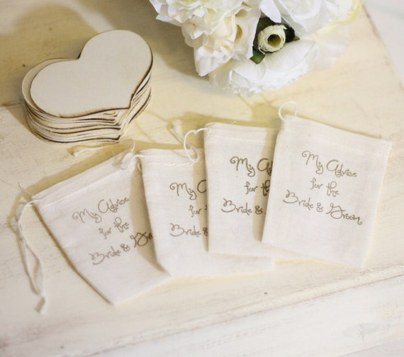 Rustic Guest Book Wood Hearts Advice For The Bride & Groom SET of 50